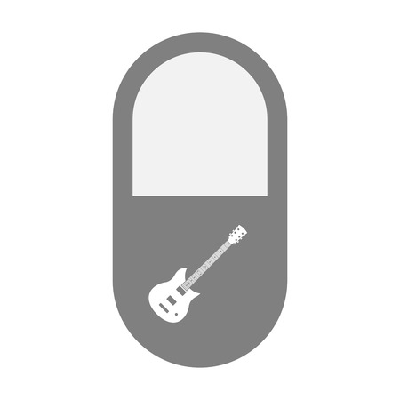 painkiller: Illustration of an isolated  pill icon with  an electric guitar Illustration