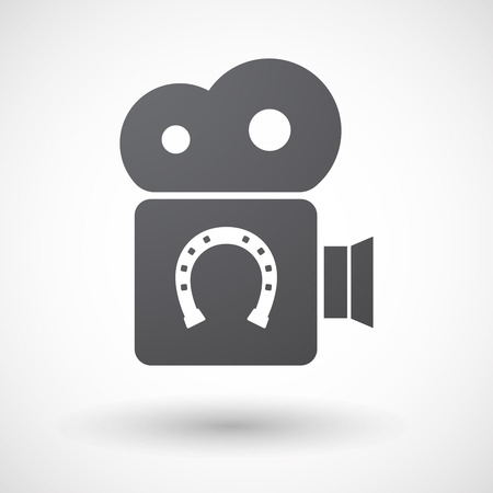 bridle: Illustration of an isolated retro cinema camera icon with  a horseshoe sign