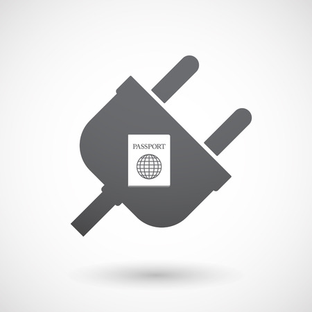 emigration: Illustration of an isolated  male plug icon with  a passport Illustration