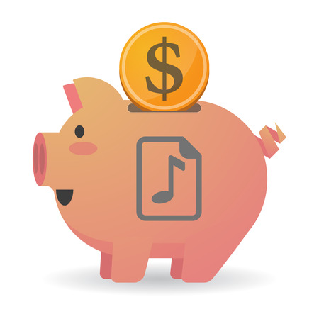 music score: Illustration of an isolated   piggy bank with  a music score icon Illustration