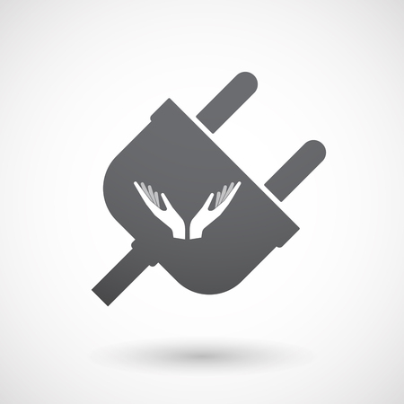 sustain: Illustration of an isolated  male plug icon with  two hands offering