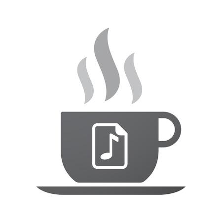 musique partition: Illustration d'une icône de tasse de café isolé avec une icône de partition