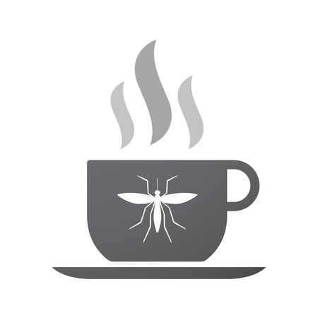 bloodsucker: Illustration of an isolated coffee cup icon with  a mosquito