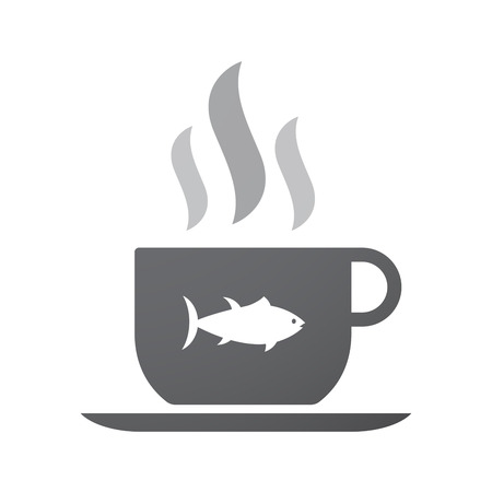tuna fish: Illustration of an isolated coffee cup icon with  a tuna fish Illustration