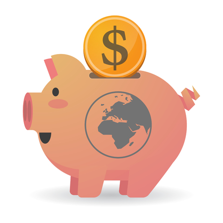 banco mundial: Illustration of an isolated   piggy bank icin with   an Asia, Africa and Europe regions world globe Vectores
