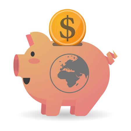 banco mundial: Ilustración de un hecho aislado icin hucha con un regiones de Asia, África y Europa del globo del mundo Vectores