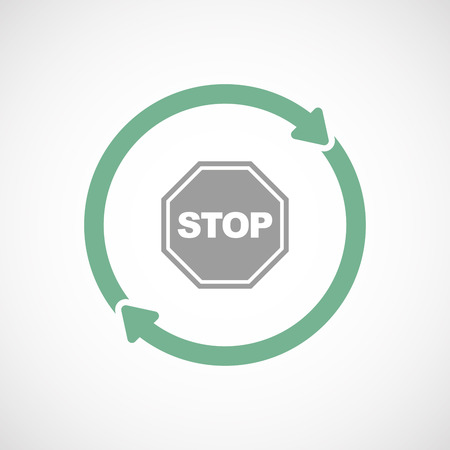 stop signal: Illustration of an isolated  line art reuse icon with  a stop signal