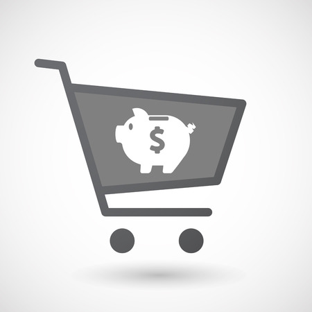 bank cart: Illustration of an isolated shopping cart icon with a piggy bank Illustration