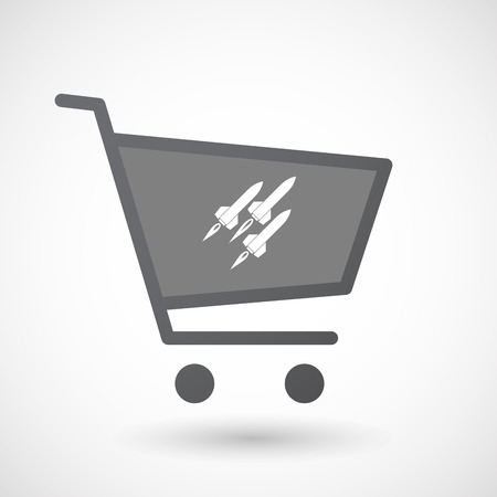 ballistic missile: Illustration of an isolated shopping cart icon with missiles Illustration