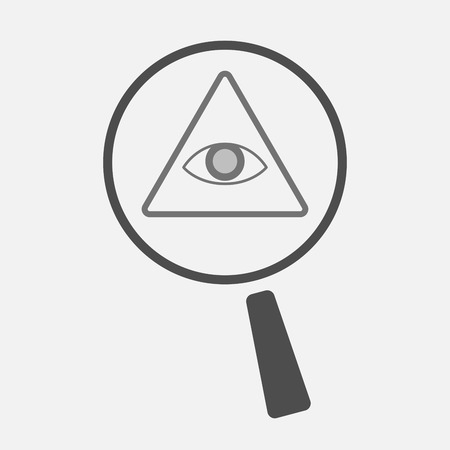 seeing: Illustration of an isolated magnifier icon with an all seeing eye