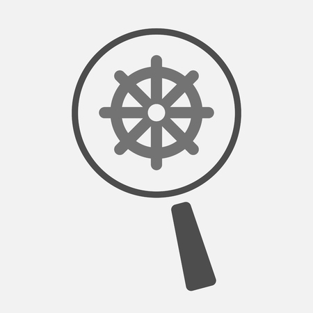 dharma: Illustration of an isolated magnifier icon with a dharma chakra sign Illustration