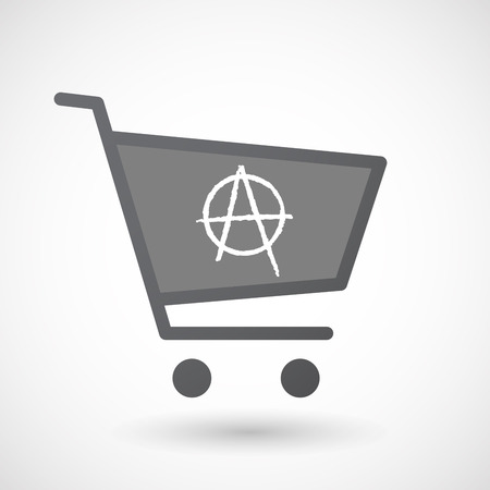 anarchist: Illustration of an isolated shopping cart icon with an anarchy sign