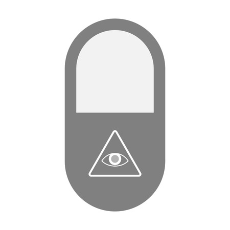 all seeing eye: Illustration of an isolated pill icon with an all seeing eye Illustration