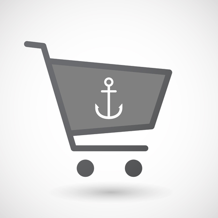 nautic: Illustration of an isolated shopping cart icon with an anchor