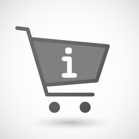 inform: Illustration of an isolated shopping cart icon with an info sign Illustration