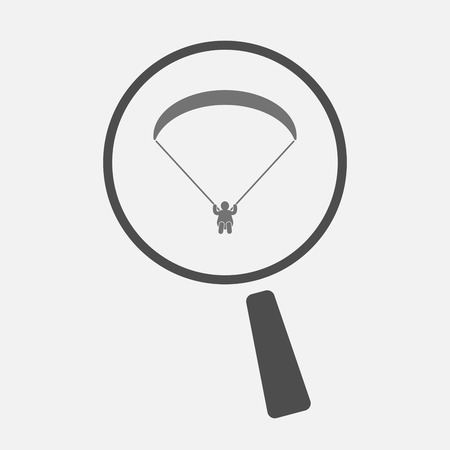 paragliding: Illustration of an isolated magnifier icon with a paraglider Illustration
