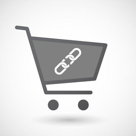 broken link: Illustration of an isolated shopping cart icon with a broken chain