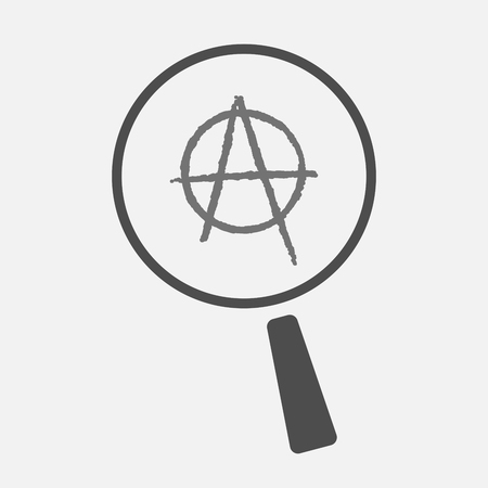 anarchist: Illustration of an isolated magnifier icon with an anarchy sign