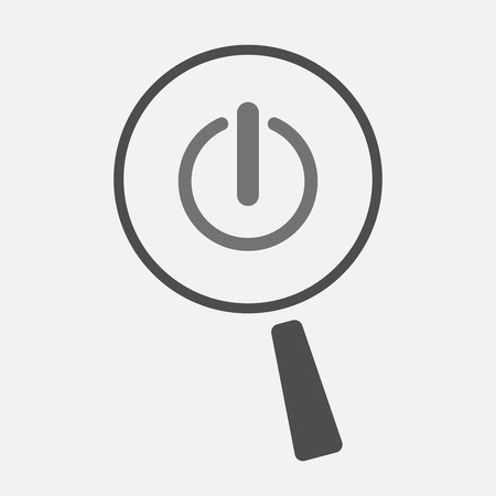 on off button: Illustration of an isolated magnifier icon with an off button Illustration