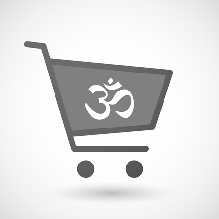 zen aum: Illustration of an isolated shopping cart icon with an om sign