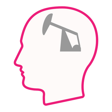 fuel rod: Illustration of an isolated male head silhouette icon with a horsehead pump