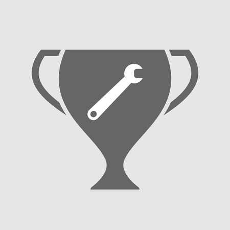 Illustration of an isolated award cup icon with a spanner Illustration