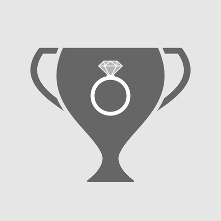 winning proposal: Illustration of an isolated award cup icon with an engagement ring