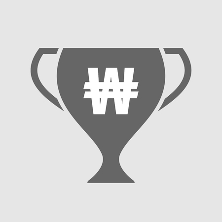 won: Illustration of an isolated award cup icon with a won currency sign