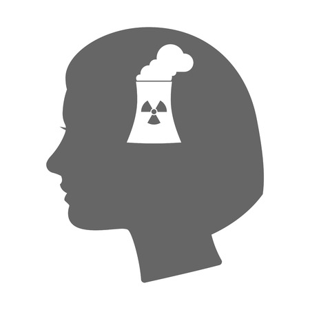 cooling tower: Illustration of an isolated female head silhouette icon with a nuclear power station