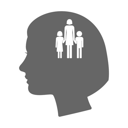 single parent: Illustration of an isolated female head silhouette icon with a female single parent family pictogram