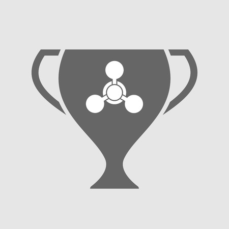 chemical weapon sign: Illustration of an isolated award cup icon with a chemical weapon sign Illustration