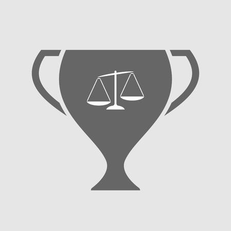 unbalanced: Illustration of an isolated award cup icon with  an unbalanced weight scale Illustration