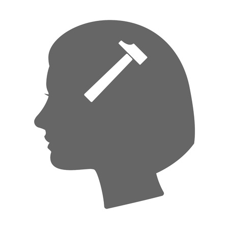 hammer head: Illustration of an isolated female head silhouette icon with a hammer