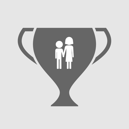 orphan: Illustration of an isolated award cup icon with a childhood pictogram Illustration