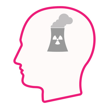 nuclear power station: Illustration of an isolated male head silhouette icon with a nuclear power station Illustration