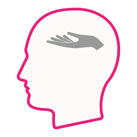 Illustration of an isolated male head silhouette icon with a hand offering