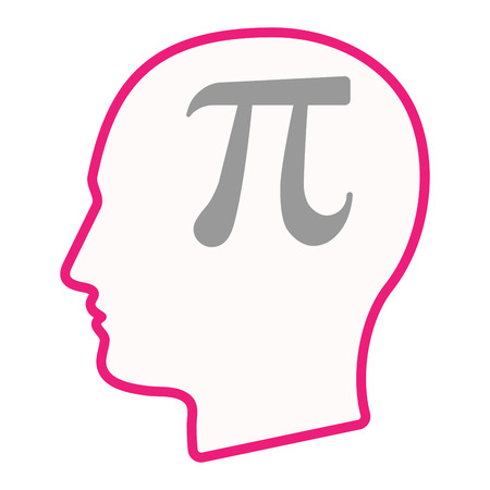 Illustration of an isolated male head silhouette icon with the number pi symbol