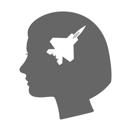 combat: Illustration of an isolated female head silhouette icon with a combat plane