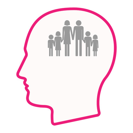 large family: Illustration of an isolated male head silhouette icon with a large family  pictogram