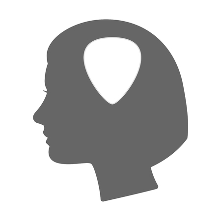 bass guitar women: Illustration of an isolated female head silhouette icon with a plectrum Illustration