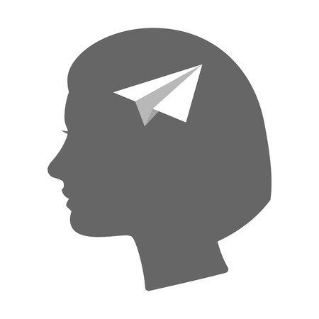 head paper: Illustration of an isolated female head silhouette icon with a paper plane