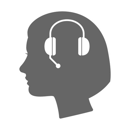 hands free phone: Illustration of an isolated female head silhouette icon with  a hands free phone device