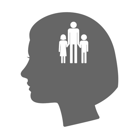 single parent family: Illustration of an isolated female head silhouette icon with a male single parent family pictogram Illustration