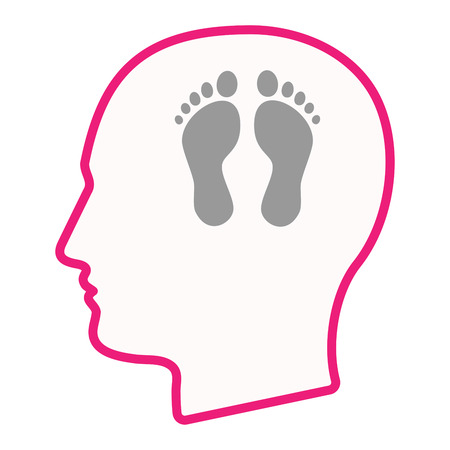 adult footprint: Illustration of an isolated male head silhouette icon with two footprints