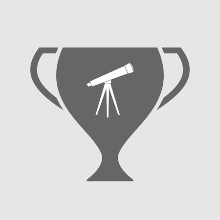 Illustration of an isolated award cup icon with a telescope Illustration