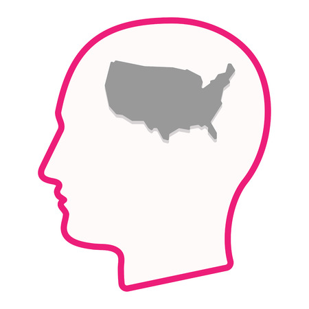 Illustration of an isolated male head silhouette icon with  a map of the USA Illustration