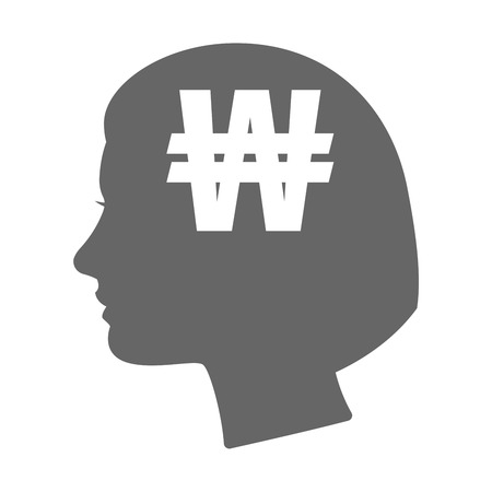 Illustration of an isolated female head silhouette icon with a won currency sign