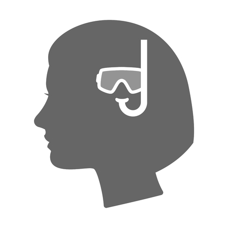 woman underwater: Illustration of an isolated female head silhouette icon with a diving goggles
