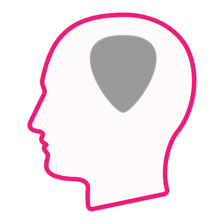 plectrum: Illustration of an isolated male head silhouette icon with a plectrum