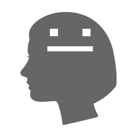 emotionless: Illustration of an isolated female head silhouette icon with a emotionless text face Illustration